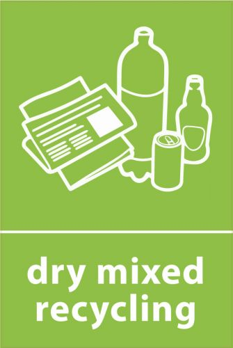 Recycling Sticker - Dry Mixed Recycling (WRAP Compliant)