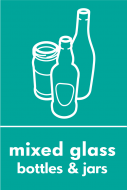 Recycling Sticker - Mixed Glass (WRAP Compliant)